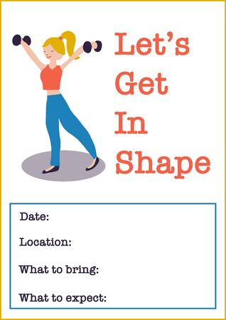 Women Fitness class vector illustration poster template of woman weightlifting dumbbells. Sport event invitation. Motivational poster or flyer for gym event, fitness class Illustration