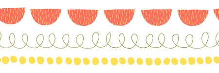 Seamless abstract doodle border vector illustration. Repeating childish pattern hand drawn. Ribbon trim. Repeating twirls, dots, semi circles. For kids fabric, cards, flyer, children decor, banner Ilustracja