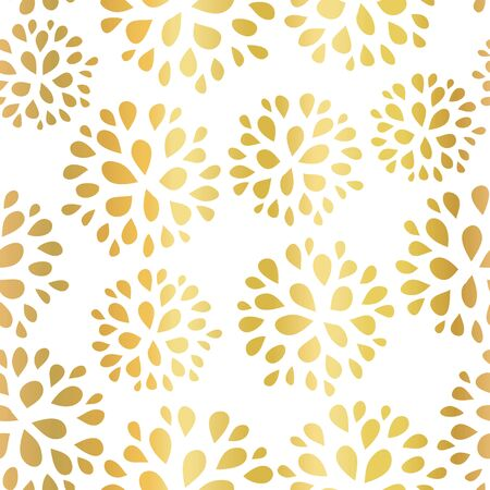 Seamless floral gold foil pattern illustration. Shiny metallic golden repeating background design with flowers for home decor, gift wrap, card design, celebrations, birthday, elegant invitations