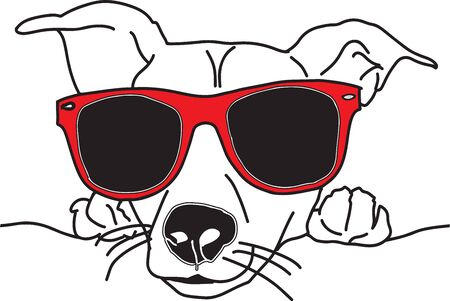 Vector illustration dog face with sunglasses black and white
