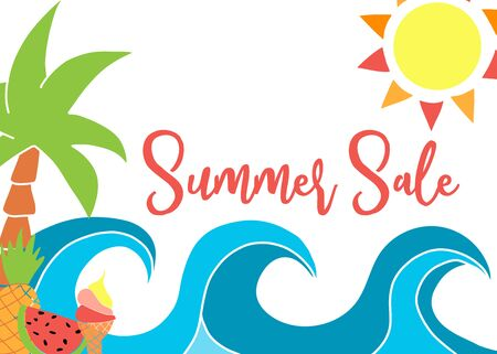 Summer Sale template with vector drawings. Waves, sun, palm tree, pineapple, watermelon, ice cream cone