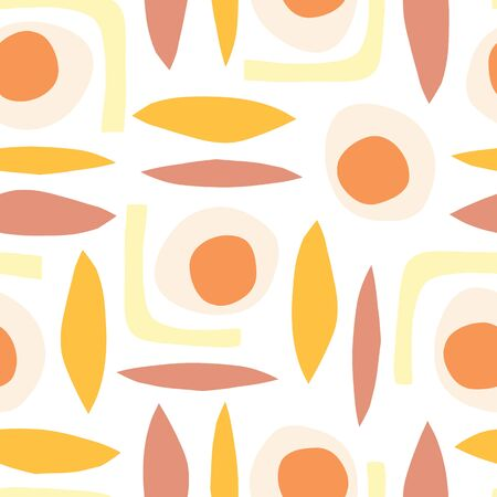 Contemporary Abstract vintage vector background. Seamless retro pattern shapes paper cut out collage style in pastel colors