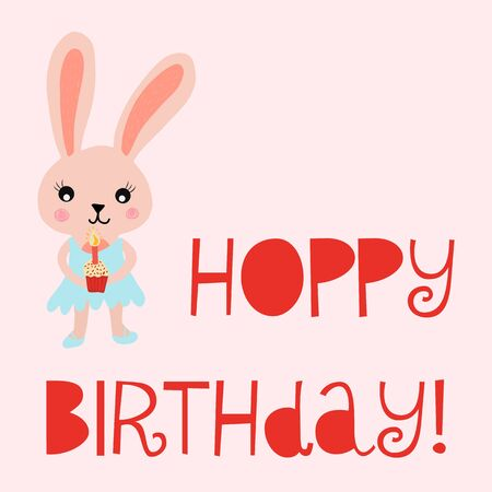 Happy birthday card bunny cute vector illustration for kids birthday card. Hoppy birthday with rabbit holding a cupcake with a candle.