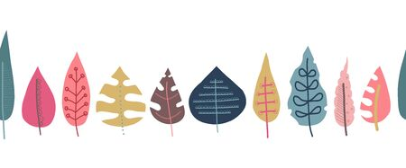 Fall leaves seamless repeating vector border. Scandinavian style autumn doodle pattern. Red pink gold blue leaf elements illustration. For fall decoration, Thanksgiving card, fabric, ribbons, banner
