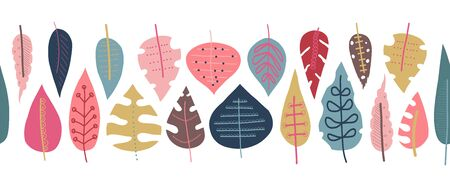 Autumn leaves seamless vector border. Scandinavian style repeating doodle pattern. Red pink gold blue leaf elements illustration. Use for fall decoration, Thanksgiving card, fabric, ribbons, banner