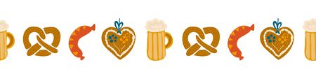 Oktoberfest food seamless border vector illustration. Beer festival party repeating banner. Beer glass, sausage, Gingerbread heart, pretzels. For invitation, flyer, poster, cards  イラスト・ベクター素材