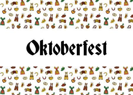 Oktoberfest party poster design template. Vector illustration. Beer festival party poster. Traditional German Lederhosen , Dirndl, Beer glasses, accordion, pretzels, sausage. Invitation flyer.