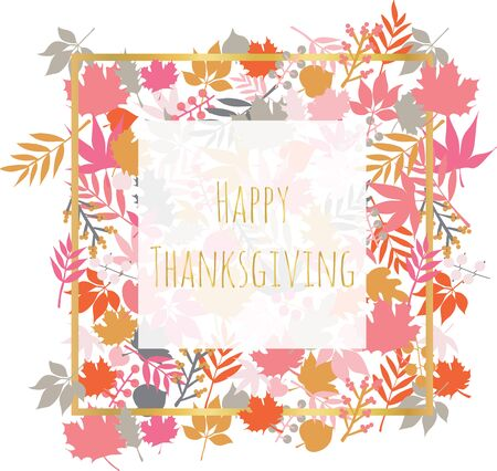 Thanksgiving card with autumn abstract doodle leaves background. Thanksgiving template design Scandinavian style with leaf pattern. Red pink gold orange gray illustration. Çizim