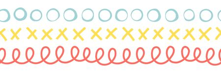 Seamless doodle border vector illustration. Repeating pattern abstract hand drawn. Ribbon trim. Repeating twirls, circles, x shape. For kids fabric, cards, birthday invites, children decor, banner.
