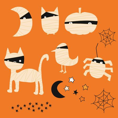 Kids Halloween mummy animal icons. Vector icon set with hand drawn pumpkins, cats, spiders, birds. Cute Halloween illustration for invitations, scrap booking, digital paper, cards, kids decor. 일러스트