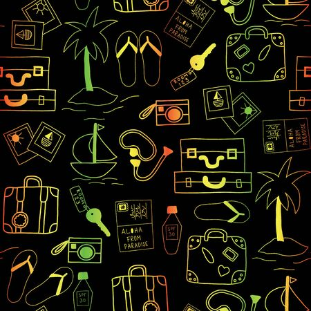 Summer vacation icons seamless vector background black and neon colors. Summertime pattern with hotel room key, camera, pictures, suitcase, flip flop sandals, palm tree, dive mask, sunscreen, boat Standard-Bild - 130164617