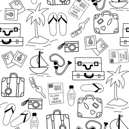 Summer holiday icons seamless vector background monochrome. Summertime vacation pattern with hotel room key, camera, pictures, suitcase, flip flop sandals, palm tree, dive mask, sunscreen, boat Ilustração