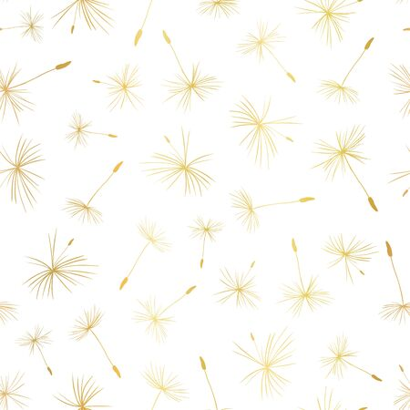 Gold foil Dandelion seeds seamless vector pattern. Metallic golden flying flower seeds on white pattern. Use for elegant web banner, vip paper projects, packaging, party invite, celebration, wedding