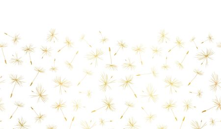Vector border Gold foil Dandelion seeds seamless repeat. Metallic golden flying flower seeds on white background. Use for elegant web banner, packaging, party invite, celebration, wedding