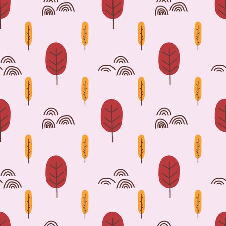 Abstract trees seamless vector pattern. Repeating background stylized autumn forest illustration flat Scandinavian style in pink red and orange. Use for fabric, packaging, digital scrapbooking, decor.