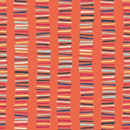 Vertical blocks seamless vector pattern. Childish abstract colorful stripe doodle background. Green, orange, blue, yellow geometric kids design. Ilustracja