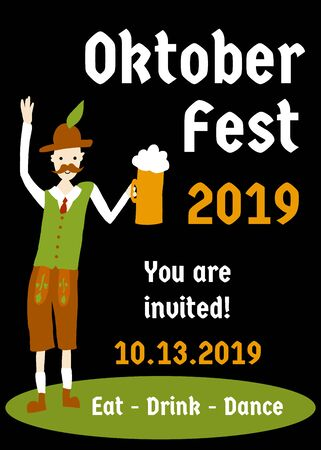 Oktoberfest party invitation flyer design template. Vector illustration. Beer festival party poster. With man in traditional Oktoberfest Lederhosen wear holding a beer glass.