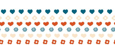 Hearts and flowers border seamless vector hand drawn illustration. Folk art repeating border. Childish simple border in blue red and white 向量圖像