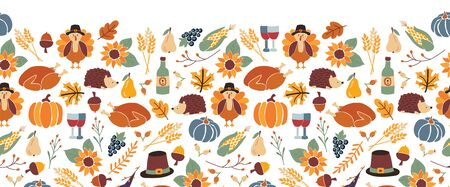 Thanksgiving seamless vector border. Autumn food roast turkey corn wine pumpkin family dinner greeting card repeating pattern design. Harvest festival. Fall party invitation banner Happy Thanksgiving Фото со стока - 131928600