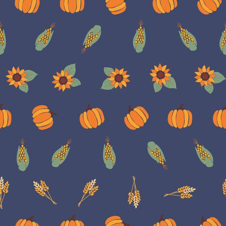 Autumn Sunflowers, pumpkins, corn plant, wheat, crop on blue background. Seamless repeating vector pattern. Fall, harvesting. Use for Thanksgiving, wrapping paper, fabric, autumn decor, cards.