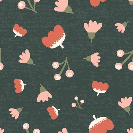 Scattered fall flowers berries seamless vector background. Abstract fall pattern pink orange green. Repeating texture Scandi fall leaf. Textured background. For fabric, Thanksgiving, digital paper