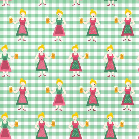 Oktoberfest seamless vector background. Oktoberfest repeating pattern. Woman in traditional Dirndl dress holding a beer glass. Green white checkered background. For packaging, fabric, cards.