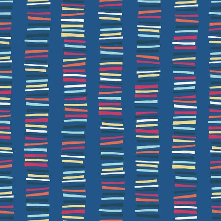 Vertical blocks seamless vector pattern. Childish abstract colorful stripe doodle background. Orange, blue, yellow, pink geometric kids design.