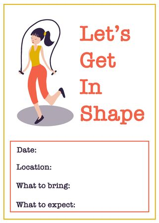 Motivational gym class poster template. Women Fitness class vector illustration of woman with jump rope. Sport event invitation.