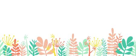 Leaves summer border frame bottom horizontal seamless vector illustration. Flowers, leaves and stems decorated border frame in summer spring colors. Floral foliage garland flat Scandinavian style.