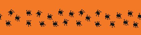 Spiders seamless vector border. Repeating Halloween design black orange. Border hand drawn spider illustration for kids party decor, ribbons, banners, invitations, scrap booking, digital paper.