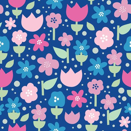 Seamless vector pattern with flat stylized Scandinavian flowers in pink and purple on blue background . Decorative retro print for kids fabric, surface decor