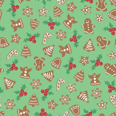 Christmas cookies seamless vector background. Holiday pattern gingerbread tree, bell, angel, candy cane, snowflake. Christmas repeating texture for surface design, wallpaper, fabric, wrapping paper  イラスト・ベクター素材