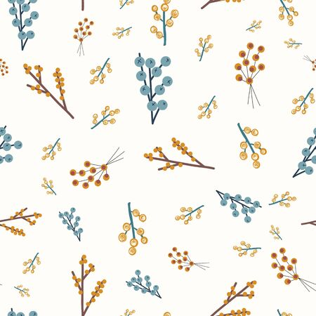 Autumn Thanksgiving nature background. Blue orange yellow brown abstract doodle berries seamless vector pattern. Fall florals repeating background in seasonal colors. For surface design, fabric