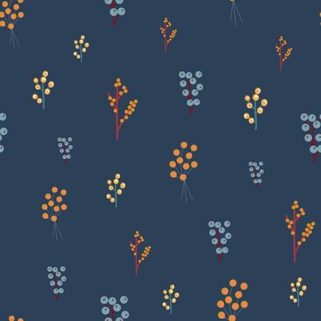 Autumn berries seamless vector pattern. Delicate nature design orange yellow blue. Winter branches and berries. Hand drawn backdrop for gift wrap paper, fabric design, surface decoration, Thanksgiving