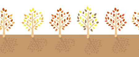 Fall trees with colorful leaves seamless vector border. Autumn tree silhouettes. Flat modern repeating nature pattern for ribbon, web banner, Thanksgiving greeting card, flyer, fabric trim, invite