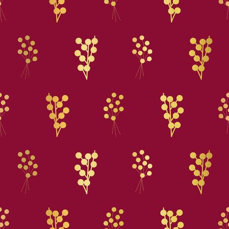 Gold foil berries on red seamless vector background. Golden florals and plants pattern. Elegant metallic foil pattern for fabric, digital paper, cards, home decor, Thanksgiving, packaging, Christmas