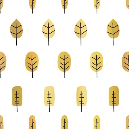 Gold foil abstract tree silhouettes seamless vector pattern. Golden metallic shiny doodle trees on white background. Elegant design for digital paper, packaging, Thanksgiving, autumn decor