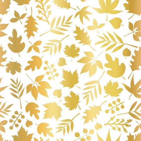 Gold foil leaves seamless vector pattern. Foliage nature leaf elements repeating background. Metallic golden floral design for elegant backdrops, invitation, wedding, celebration, cards, decor, autumn
