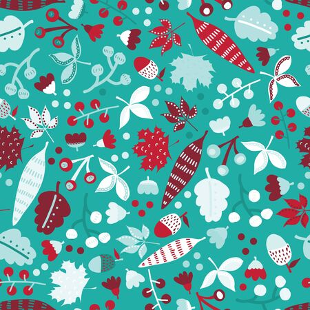 Winter leaves and flowers seamless pattern with branches, leaves, berries and flowers. Christmas floral hand drawn background for gift wrap paper, fabric design, surface decoration, digital paper Иллюстрация