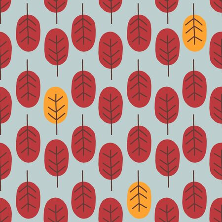 Seamless abstract autumn tree pattern forest woodland with red and yellow leaves illustration in trendy cartoon flat style. Retro style Scandinavian design for fall. Иллюстрация