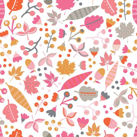 Seamless vector pattern fall doodle leaves. Scandinavian style repeating autumn pattern. Red pink gold gray leaf illustration. Use for fall decoration, Thanksgiving card, fabric, kids textiles