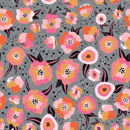 Pink orange black gray gold Scandinavian style flowers seamless vector pattern. Flat stylized florals repeating background. Decorative retro print for kids fabric, surface decor, autumn decoration