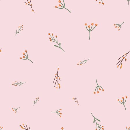 Delicate fall autumn leaves seamless vector pattern. Repeating feminine floral nature background pink. Hand drawn illustration for fabric, home decor, wallpaper