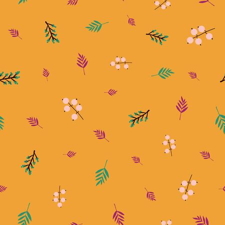 Autumn abstract doodle berries and leaves seamless vector pattern purple mustard orange pink teal. Flowers and leaves repeating background in fall colors. For surface design, fabric, Thanksgiving