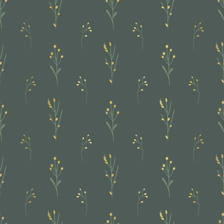 Golden florals seamless vector background. Golden abstract wildflower grass shapes on dark green background. Elegant pattern for fabric, digital paper, cards, home decor, Thanksgiving, packaging