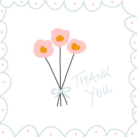 Thank you note hand drawn vector illustration. Thank you message with flowers.