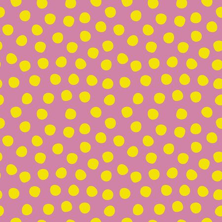Seamless polka dots pattern purple yellow lime. Violet and green repeating background with polka dots. Polka dot fabric. Иллюстрация