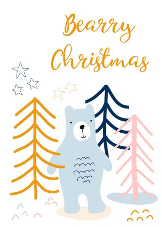 Christmas greeting card kids. Scandinavian style holiday greetings. Bear in forest hand drawn vector illustration. Berry Christmas. Cute children Christmas card template Фото со стока - 133080253