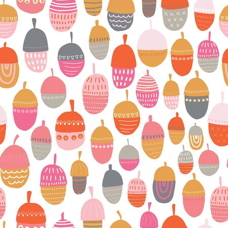 Acorn vector illustration seamless pattern. Repeating autumn background. Kids fall decoration Scandinavian style. Colorful hand drawn children design. For Thanksgiving card, fabric, surface decor,