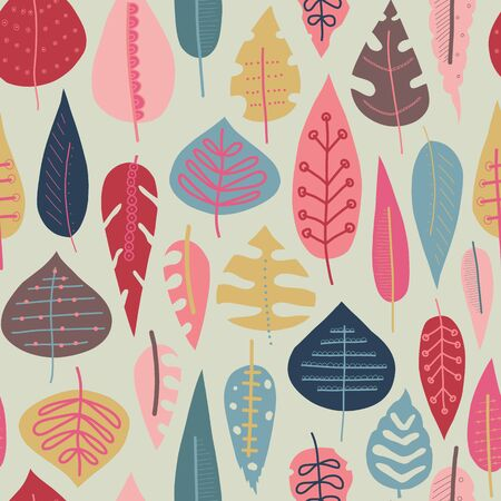 Autumn abstract doodle leaves background. Scandinavian style seamless vector pattern. Red pink gold blue leaf elements illustration. Use for fall decoration, Thanksgiving card, fabric, kids textiles Фото со стока - 133198998